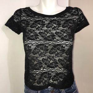 Garage Black Lace Mesh Grunge Short Sleeve CropTop